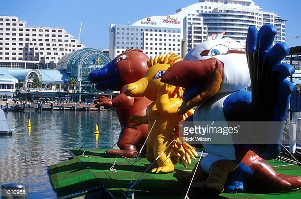 The Olympic mascots Oly Milly and Sid dance around during the celebrations of the 2000 Sydney Olympics with one year to goSydney Australia Mandatory...