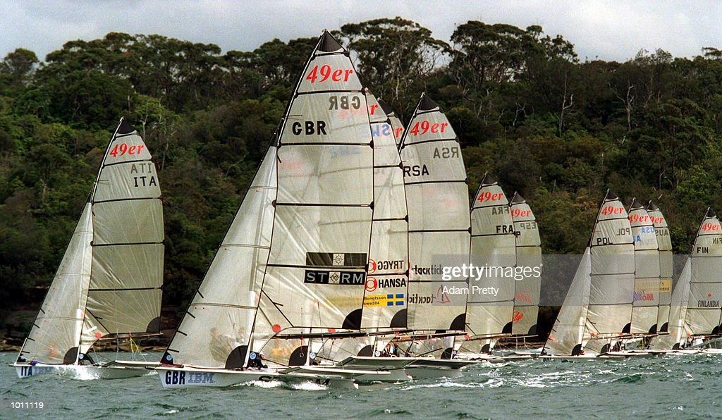 The start of the Olympic 49 ers class during the 1999 Sydney Harbour Regatta in Sydney Harbour, Sydney, Australia. Mandatory Credit: Adam Pretty/ALLSPORT