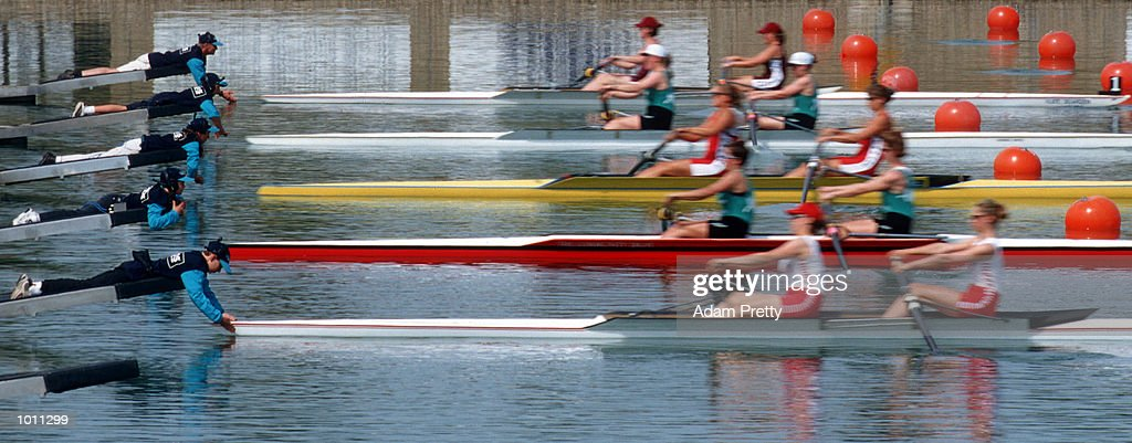 The start of the womens coxless pair during the Pacific RIM International at Penrith Lakes,Sydney Australia.This is part of the S.O.C.O.G test events. Mandatory Credit: Adam Pretty/ALLSPORT