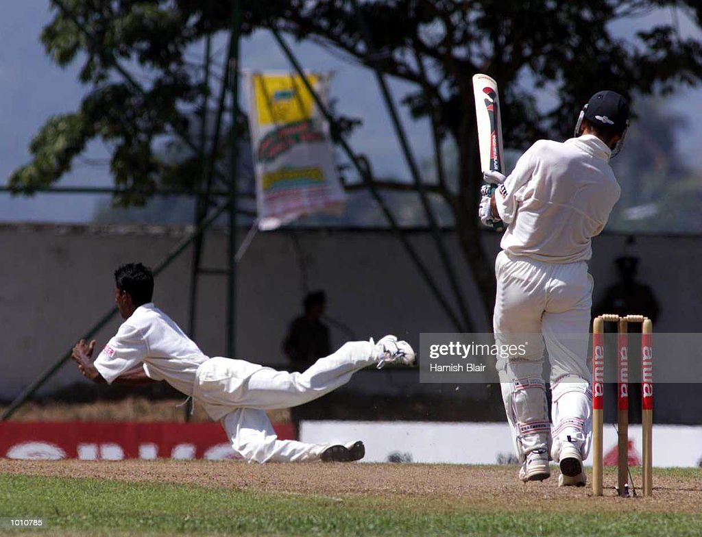 Upal Chandana of Sri Lanka unsuccessfully attempts to catch Ricky Ponting of Australia, during day one of the First Test between Sri Lanka and Australia at Asgiriya Stadium, Kandy, Sri Lanka. Mandatory Credit: Hamish Blair/ALLSPORT
