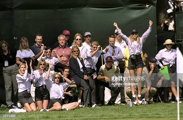 USA wives and Ben Crenshaw celebrate during the 33rd Ryder Cup match played at the Brookline CC in Boston Massachusetts USA Mandatory Credit Andrew...