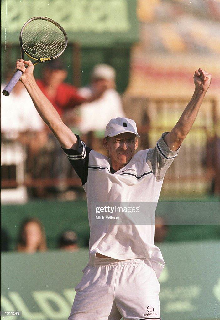 Wayne Arthurs of Australia celebrates winning during his 6-2, 6-7, 6-2, 6-0 victory over Yevgeny Kafelnikov of Russia during the Davis Cup semi final at the ANZ Stadium, Brisbane, Australia. Mandatory Credit: Nick Wilson/ALLSPORT