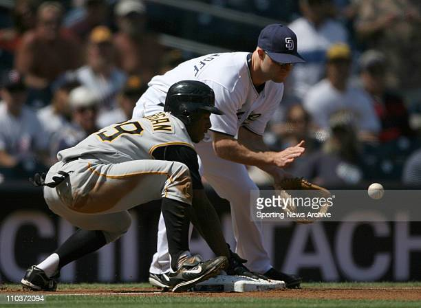 Sep 20 2007 San Diego CA USA Pittsburgh Pirates NYJER MORGAN against San Diego Padres KEVIN KOUZMANOFF at Pecto Field The Padres won 63