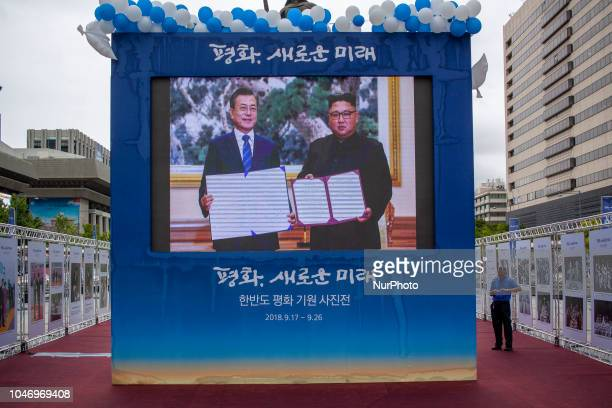 Sep 20 2018Seoul South KoreaA screen at Seoul station broadcasts the second day of the interKorean summit being held in Pyongyang North Korea South...