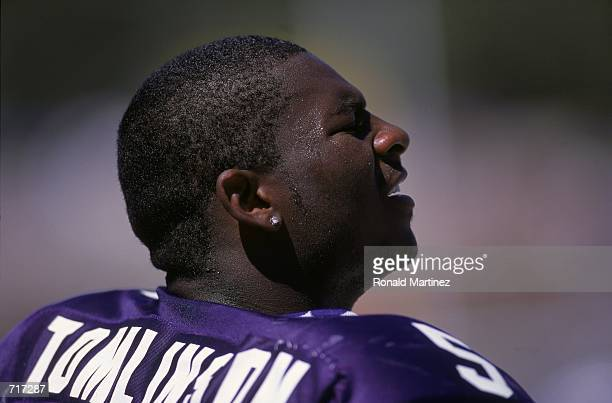 A close up of La Dainian Tomlinson of the Texas Christian University Horned Frogs as he looks on from the sidelines during the game against the...