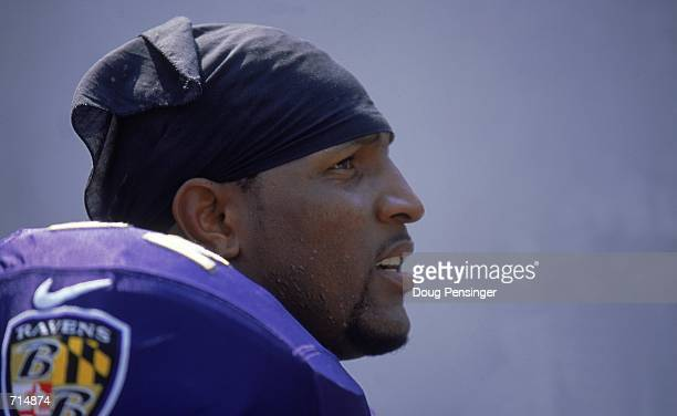 A close up of Ray Lewis of the Baltimore Ravens taking a break from the action during the game against the Jacksonville Jaguars at Psinet Stadium in...