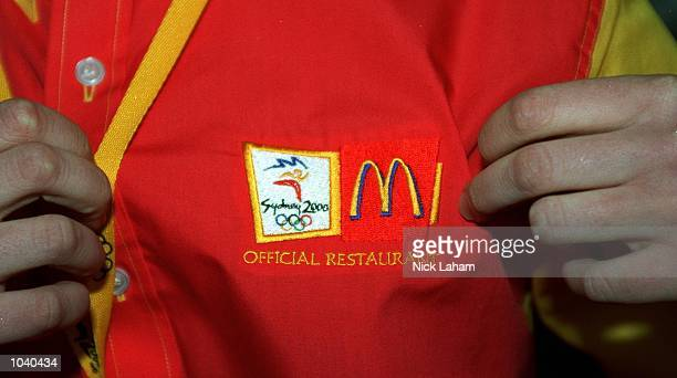 A crew member's shirt during the launch of the new McDonalds restaurant in the casual dining section of the Athlete's Village in Homebush Sydney...