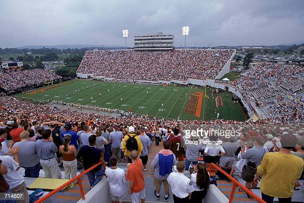 A general view from the stands of Lane Stadium during the game between the Virginia Tech Hokies against the Akron Zips in Blackburg Virginia The...