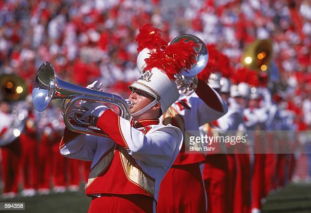 A general view of a marching band member for the Nebraska Cornhuskers being raised up at the halftime show during the game against the San Jose State...