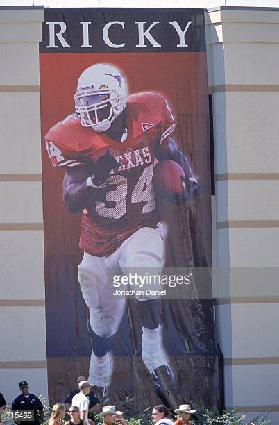 View of a banner in honor of Ricky Williams of the Texas Longhorns hangs during a game against the Oklahoma State Cowboys at the Royal-Memorial...