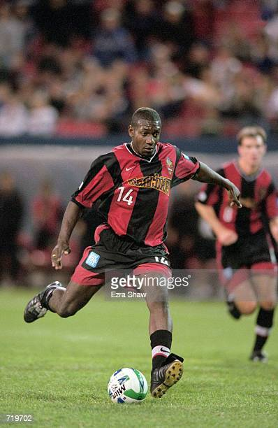 Adolfo Valencia of the New Jersey/New York MetroStars kicks the ball during a game against the Miami Fusion at the Giant Stadium in East Rutherford...