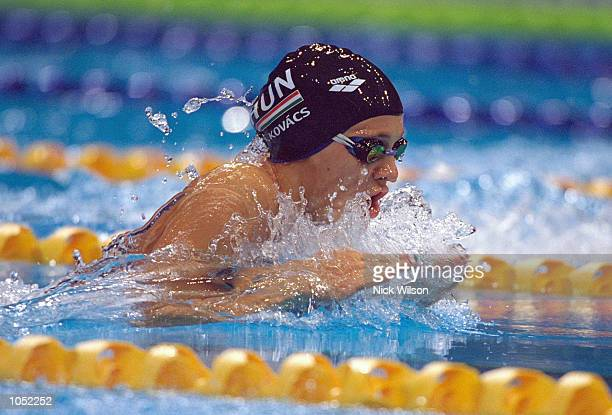 Agnes Kovacs of Hungary on her way to Gold in the Womens 200m Breaststroke Final at the Sydney International Aquatic Centre on Day Six of the Sydney...
