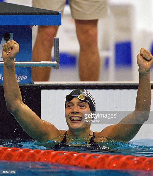 Agnes Kovacs of Hungary wins Gold in the Womens 200m Breaststroke Final at the Sydney International Aquatic Centre on Day Six of the Sydney 2000...