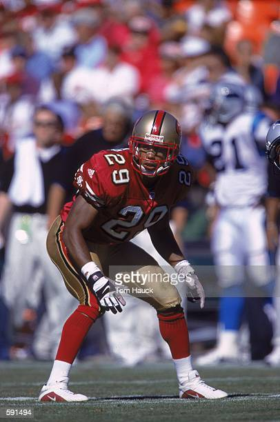 Ahmed Plummer of the San Francisco 49ersis ready on the field during the game against the Carolina Panthers at 3Com Park in San Francisco,...