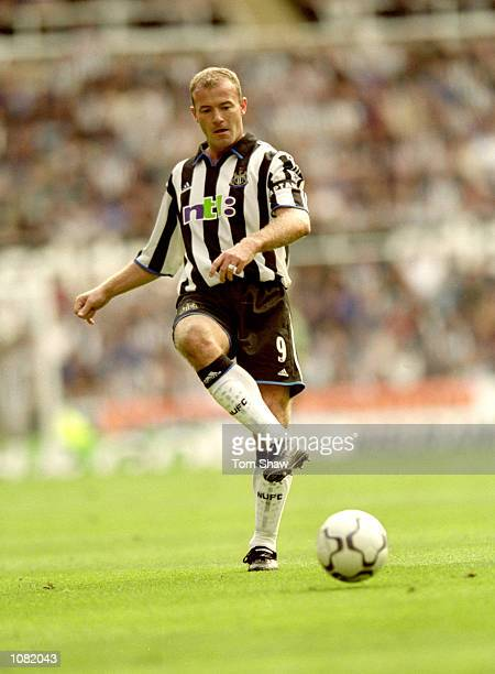 Alan Shearer of Newcastle United in action during the FA Carling Premiership match against Chelsea at St James Park in Newcastle England The match...