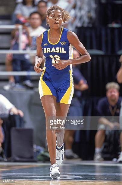 Alessandra de Oliveria of Team Brazil runs on to the court during the USA Womens Olympic Team Training Game against Team USA at the Stan Sherif...