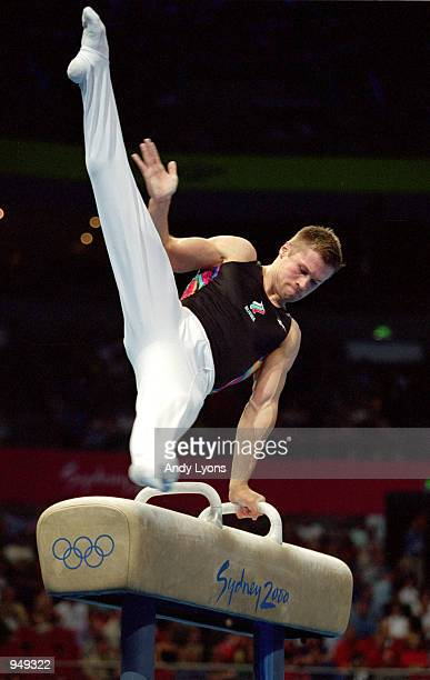 Alexei Nemov of Russia in action on the Pommel Horse in the Men's Individual AllAround Final at the Sydney Superdome on Day Five of the Sydney 2000...
