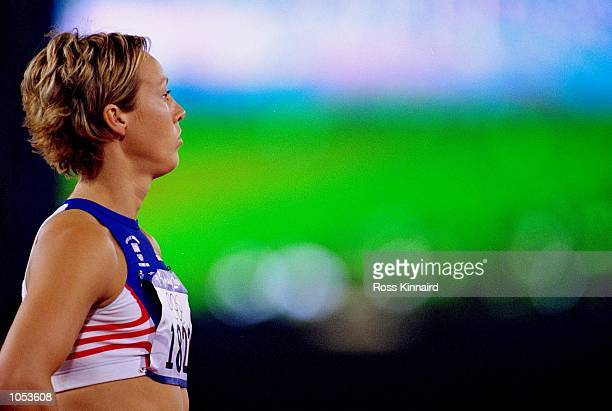 Alison Curbishley of Great Britain before the Women's 400m Heats at the Olympic Stadium on Day Seven of the Sydney 2000 Olympic Games in Sydney...