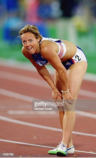 Allison Curbishley of Great Britain fails to qualify for the Womens 400m Semi Finals at the Olympic Stadium on Day Eight of the Sydney 2000 Olympic...
