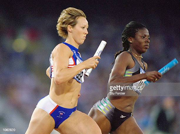 Allison Curbishley of Great Britain in action in the Womens 4x400m Relay Heats at the Olympic Stadium on Day 14 of the Sydney 2000 Olympic Games in...