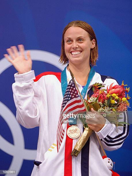 Amanda Beard of the USA celebrates her Bronze Medal win on the podium after the Womens 200m Breastroke Final at the Sydney International Aquatic...