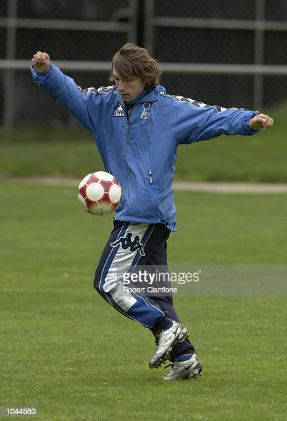 Andrea Pirlo of the Italian Olympic Soccer team in action during this mornings training session at the Bullen Veneto Soccer Ground Melbourne...