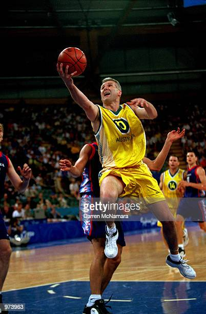 Andrew Gaze of Australia in action during the Men's Basketball match between Australia and Russia held at the Sydney Superdome during the Sydney 2000...