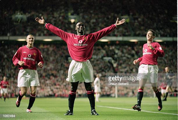 Andy Cole of Manchester United celebrates during the FA Carling Premiership match against Bradford City at Old Trafford in Manchester England...