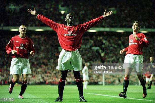 Andy Cole of United celebrates scoring during the match between Manchester United and Bradford City in the FA Carling Premiership at Old Trafford...