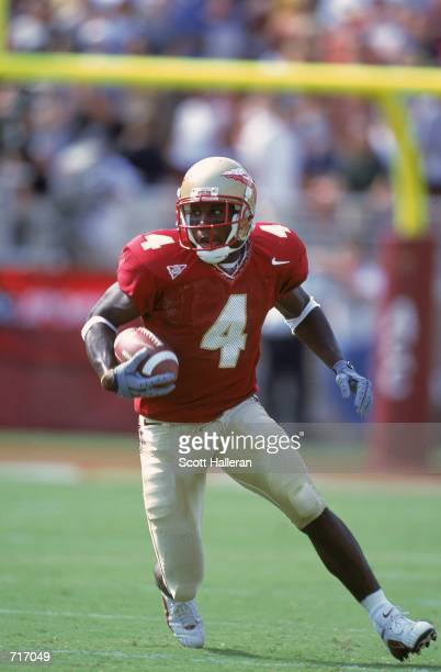 Anquan Boldin of the Florida State Seminoles runs with the ball during the game against the North Carolina Tar Heels at the Doak Cambell Stadium in...