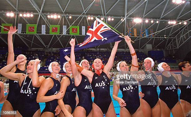 Australia celebrate victory in the Women's Water Polo Final against the USA at the Sydney International Aquatic Centre on Day Eight of the Sydney...
