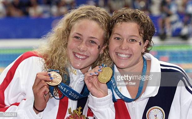 Bronze Medalist Kaitlin Sandeno of USA and Gold Medalist Brook Bennett of USA Celebrate after the Women's 800m Freestyle Final at the Sydney 2000...