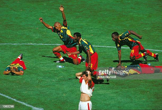 Cameroon celebrate the winning penalty in the shootout in the Mens Football Final against Spain at the Olympic Stadium on Day 15 of the Sydney 2000...