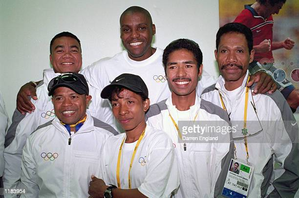 Carl Lewis of the USA meets the East Timor Olympic Athletes at the Nike Athlete Centre preceding the Opening Ceremony of the Sydney 2000 Olympic...