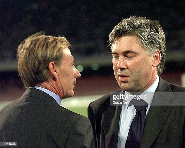 Carlo Ancelotti manager of Juventus and Zdenek Zeman manager of Napoli talk during the Serie A league match between Napoli and Juventus played at the...