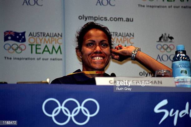 Cathy Freeman of Australia at a Press Conference during the Sydney 2000 Olympic Games Sydney Australia Mandatory Credit Ruth Gray/ALLSPORT