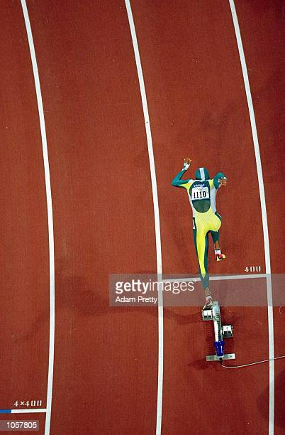 Cathy Freeman of Australia sets off on her way to gold in the Womens 400m Final at the Olympic Stadium on Day Ten of the Sydney 2000 Olympic Games in...