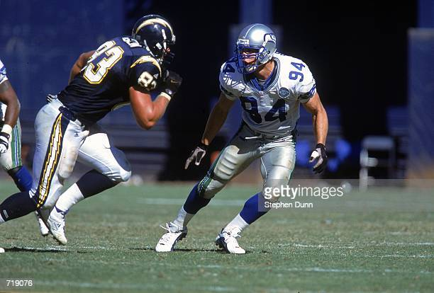 Chad Brown of the Seattle Seahawks runs to cover Steve Heiden of the San Diego Chargers at Qualcomm Stadium in San Diego California The Seahawks...