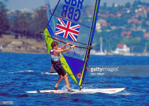 Christine Johnston of Great Britain in action during the Women's Mistral Sailing Fleet Races at Rushcutters Bay in Sydney Harbour on Day Two of the...