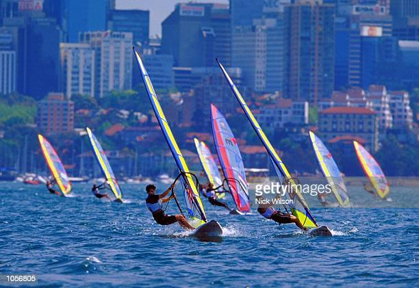 Christine Johnston of Great Britain in the Womens Mistral Fleet Races at Rushcutters Bay on Day Nine of the Sydney 2000 Olympic Games in Sydney,...