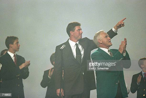 Dan Marino of the Miami Dolphins points to Don SHula during the game against the Baltimore Ravens at the Pro Player Stadium in Miami Florida The...