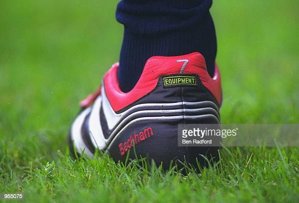 David Beckham of Manchester United boots during the UEFA Champions League match against PSV Eindhoven played at the Philips Stadium in Eindhoven...