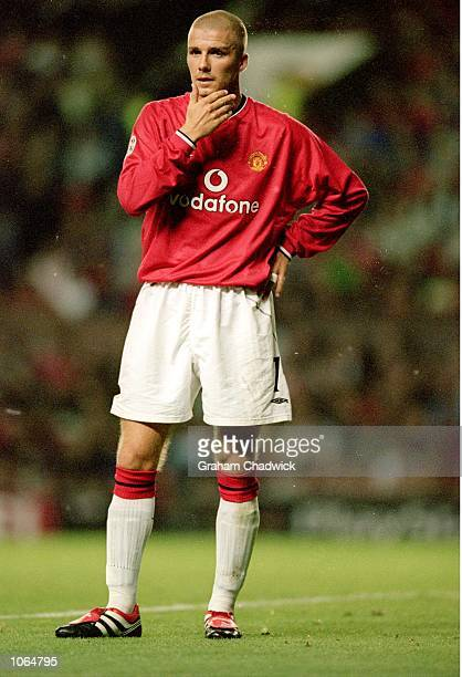 David Beckham of Manchester United considers his options during the UEFA Champions League match against Anderlecht at Old Trafford in Manchester...