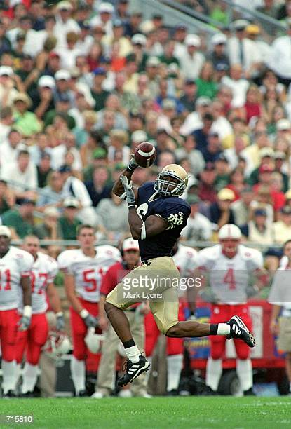 David Givens of the Notre Dame Fighting Irish catches the ballduring the game against the Nebraska Cornhuskers at the Notre Dame Stadium in South...