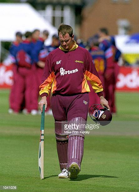 David Sales of Northamptonshire Steelbacks walks back to the pavilion during the Norwich Union NCL match between Northmaptonshire Steelbacks and the...