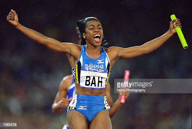 Debbie Ferguson anchors the Bahamas to victory in the Womens 4x100m Final at the Olympic Stadium on Day 15 of the Sydney 2000 Olympic Games in Sydney...