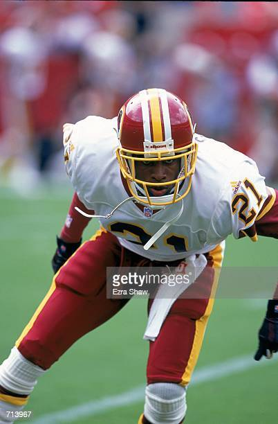 Deion Sanders of the Washington Redskins moves on the field during the game against the Carolina Panthers at the FedEx Field in Landover Maryland The...