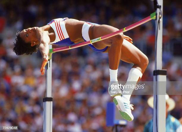 Denise Lewis of Great Britain in action in the High Jump discipline of the Heptathlon at the Olympic Stadium on Day Eight of the Sydney 2000 Olympic...
