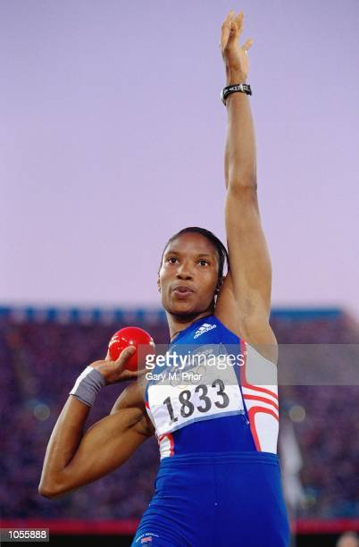 Denise Lewis of Great Britain in action in the Shot Put discipline of the Heptathlon at the Olympic Stadium on Day Eight of the Sydney 2000 Olympic...