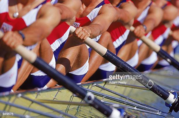 Detail of competitors in action during the Mens Rowing 8's at the Sydney International Regatta Centre on Day Three of the Sydney 2000 Olympic Games...